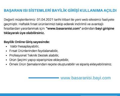 BAŞARAN ISI SİSTEMLERİ YENİ WEB SİTESİ KULLANIMA AÇILDI!